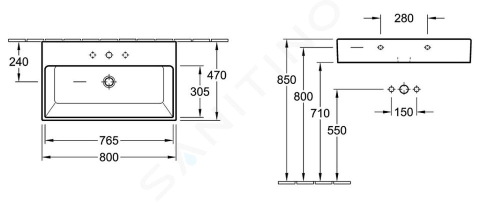 Villeroy & Boch Memento - Wastafel 800x470 mm, met overloop, met kraangat, alpine wit 51338501