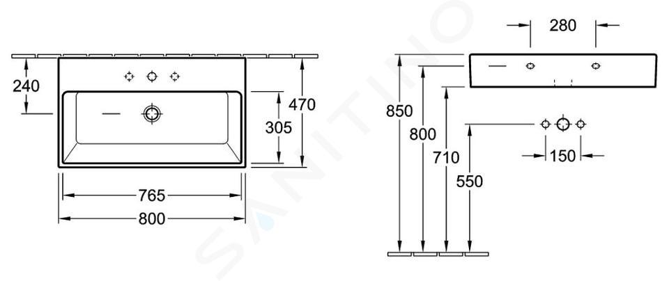Villeroy & Boch Memento - Lavabo 800x470 mm, senza troppopieno, foro per miscelatore, bianco alpino 51338101