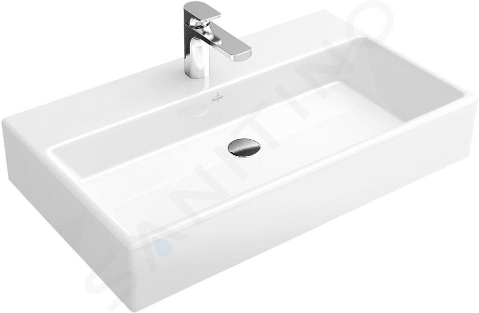 Villeroy & Boch Memento - Wastafel 800x470 mm, zonder overloop, met kraangat, alpine wit 51338G01