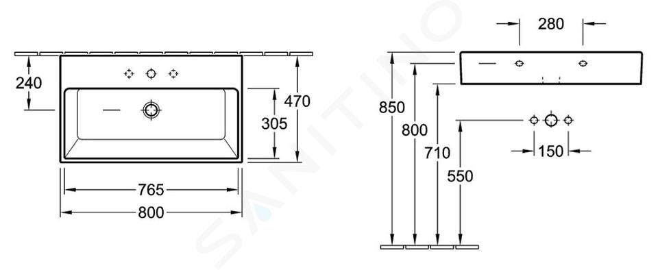 Villeroy & Boch Memento - Lavabo 800x470 mm, sans trop-plein, trou pour robinetterie, CeramicPlus, blanc alpin 51338GR1