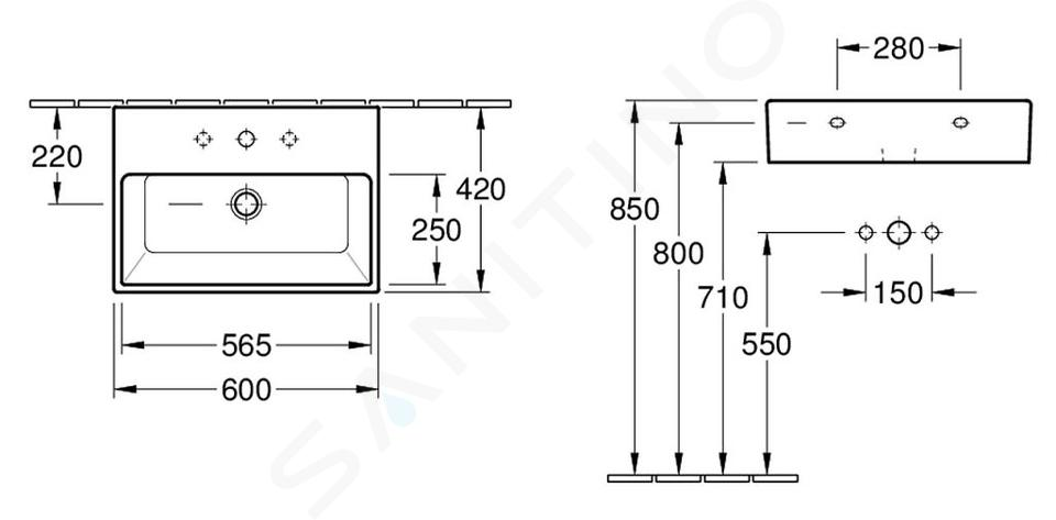 Villeroy & Boch Memento - Wastafel, 600 mm x 420 mm, wit - 1-gats wastafel, met overloop, met Ceramicplus 513360R1