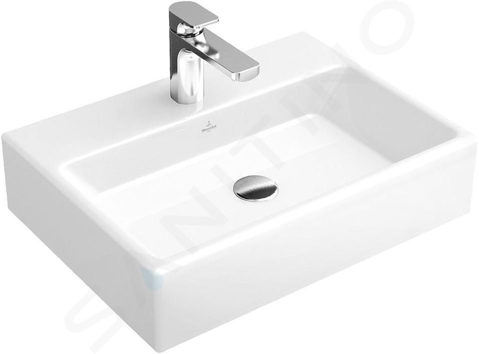 Villeroy & Boch Memento - Waschbecken 600x420 mm, ohne Überlauf, Hahnloch, CeramiPlus, Alpinweiß 51336GR1