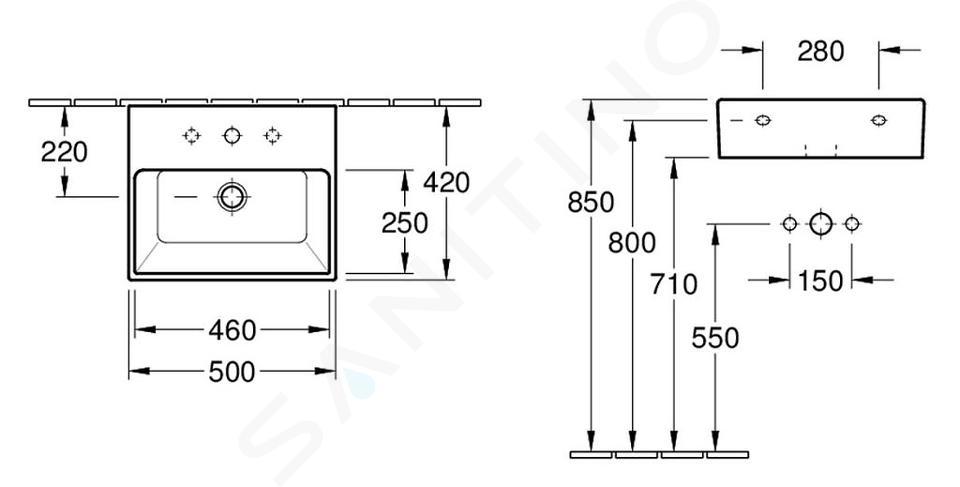 Villeroy & Boch Memento - Wastafel 500x420 mm, met overloop, met kraangat, CeramicPlus, alpine wit 513350R1