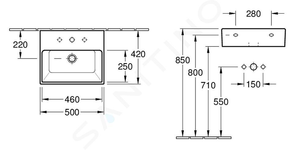 Villeroy & Boch Memento - Lavabo 500x420 mm, sans trop-plein, trou pour robinetterie, blanc alpin 51335G01