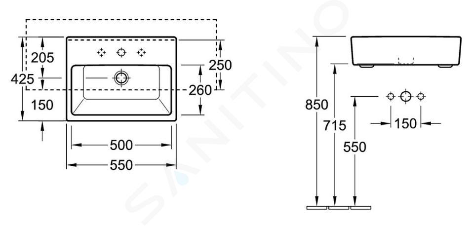 Villeroy & Boch Memento - Vorbauwaschtisch 550x425 mm, mit Überlauf, 1 Hahnloch, Alpinweiß 41335501