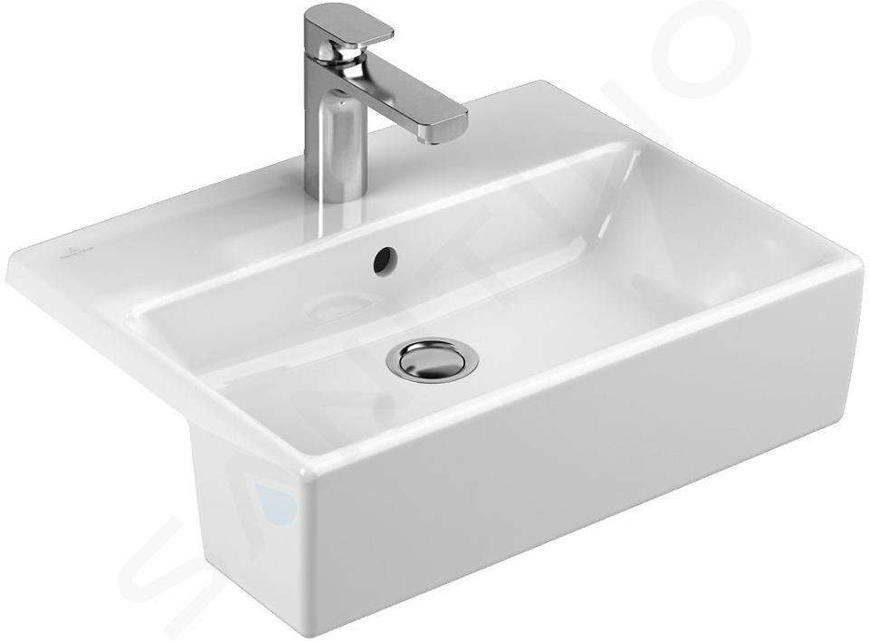 Villeroy & Boch Memento - Vasque semi-encastrée 550x425 mm, avec trop-plein, un trou pour robinetterie, CeramicPlus, blanc alpin 413355R1
