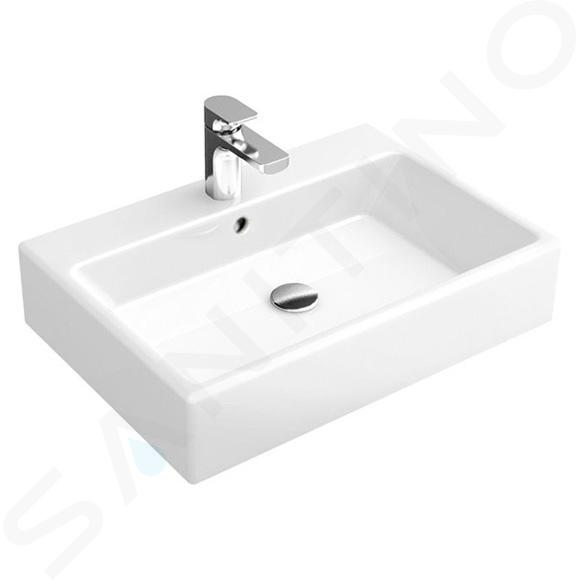 Villeroy & Boch Memento - Aufsatzwaschbecken, 600x420 mm, mit Überlauf, mit Hahnloch, Alpinweiß 51356001