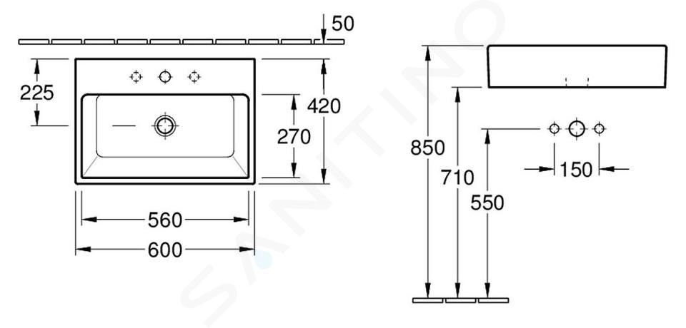 Villeroy & Boch Memento - Aufsatzwaschbecken, 600x420 mm, ohne Überlauf, mit Hahnloch, WonderGliss, Alpinweiß 51356101