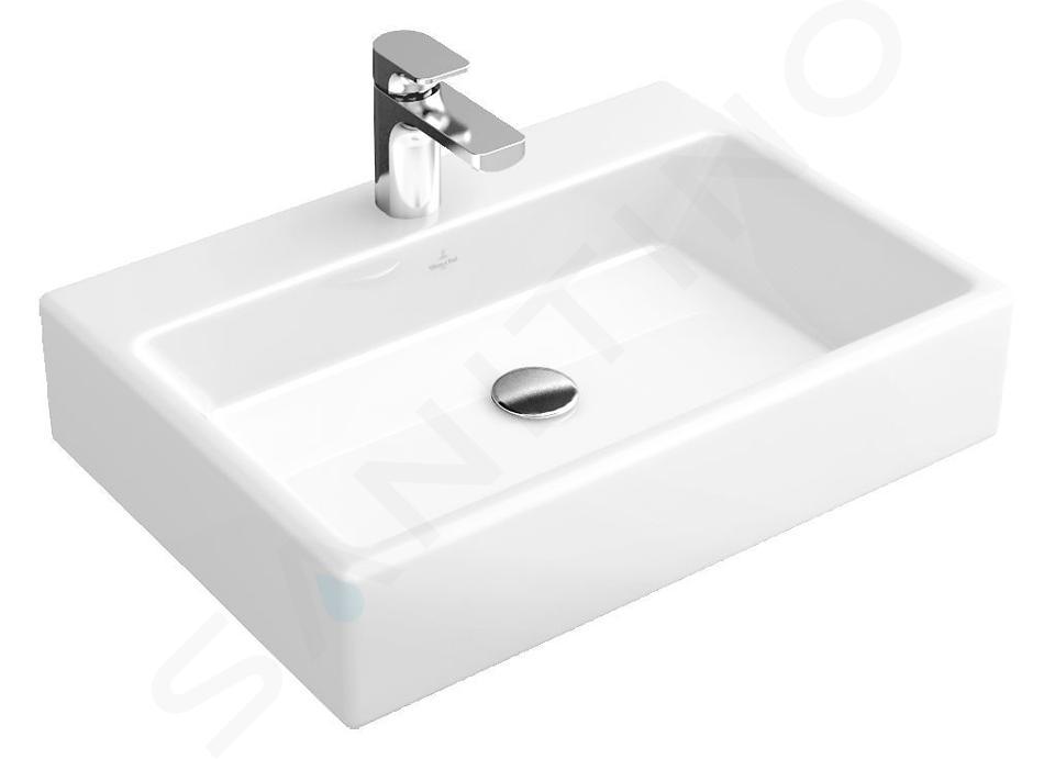 Villeroy & Boch Memento - Lavabo da appoggio, 600x420 mm, senza troppopieno, foro per miscelatore, CeramicPlus, bianco alpino 513561R1