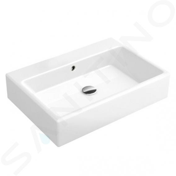 Villeroy & Boch Memento - Aufsatzwaschbecken, 600x420 mm, mit Überlauf, ohne Hahnloch, Alpinweiß 51356201