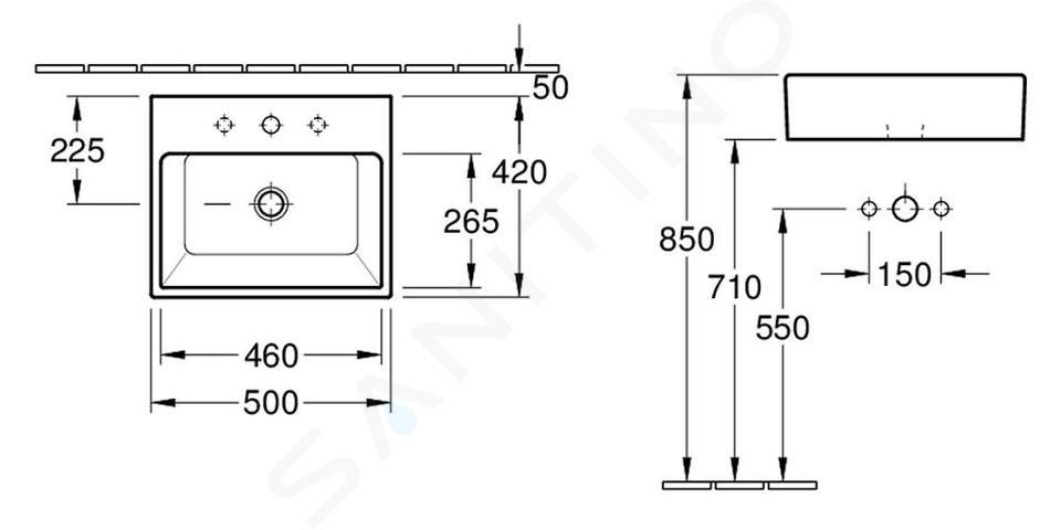 Villeroy & Boch Memento - Lavabo da appoggio, 500x420 mm, con troppopieno, senza foro per miscelatore, CeramicPlus, bianco alpino 513552R1