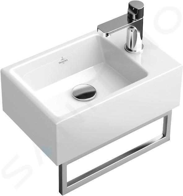 Villeroy & Boch Memento - Handwaschbecken 400x260 mm, ohne Überlauf, mit Hahnloch,  Alpinweiß 53334101