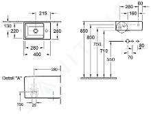 Villeroy & Boch Memento - Handwaschbecken 400x260 mm, ohne Überlauf, mit Hahnloch, CermaicPlus, Alpinweiß 533341R1