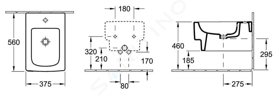 Villeroy & Boch Memento - 1-gats wandbidet met overloop, 375 mm x 560 mm, wit - bidet, met Ceramicplus 542800R1