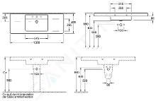 Villeroy & Boch Omnia Architectura - Meubelwastafel, 1300x485 mm, met overloop, met kraangat, wit 61181301