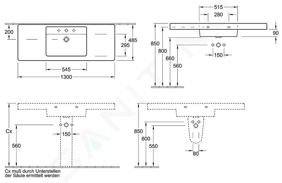Villeroy & Boch Omnia Architectura - Vasque un trou pour sous-meuble, avec trop-plein, 1300 mm x 485 mm, blanc- vasque 61181301