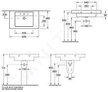 Villeroy & Boch Architectura - Meubelwastafel 800x485 mm, met overloop, met kraangat, Ceramicplus, wit 611680R1