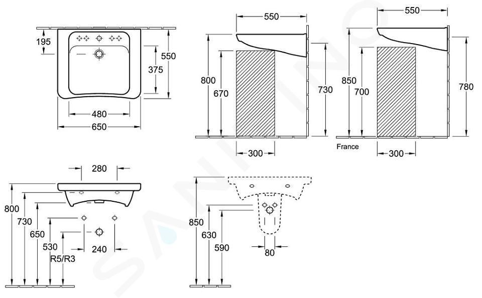 Villeroy & Boch ViCare - Vita wastafel, 650x550 mm, zonder overloop, met kraangat, Ceramicplus, wit 517868R1