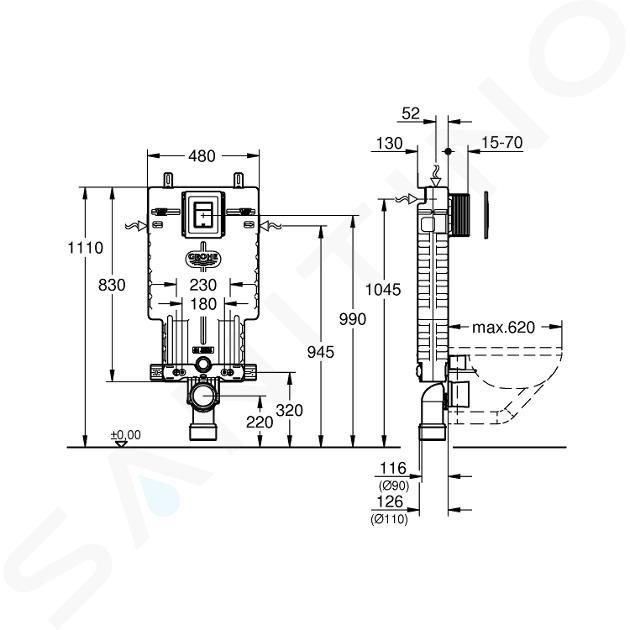 Grohe Uniset - Kit d'installation en applique, avec touche Skate Cosmopolitan, chrome 38825000