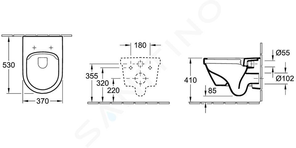 Villeroy & Boch Architectura - Wandcloset, afvoer horizontaal, DirectFlush, alpine wit 5684R001