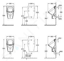 Villeroy & Boch Architectura - Urinoir, 355 mm x 620 mm x 385 mm, urinoir - wit, met richtobject 55740501