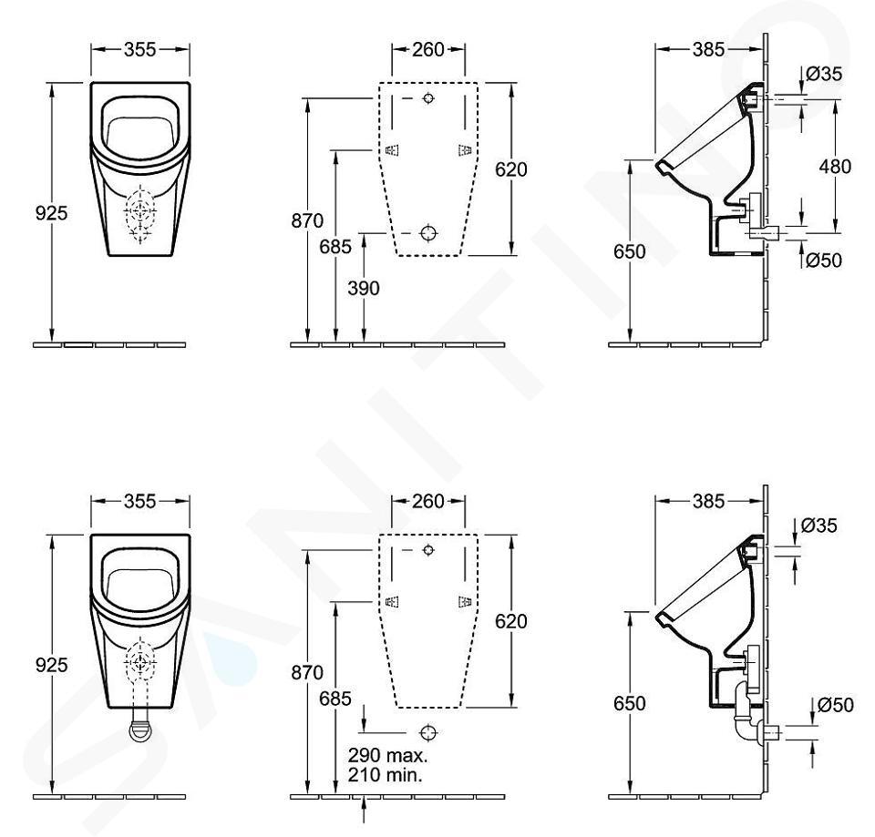 Villeroy & Boch Architectura - Urinoir, verdekte inlaat, met richtobject, CeramicPlus, alpine wit 557420R1