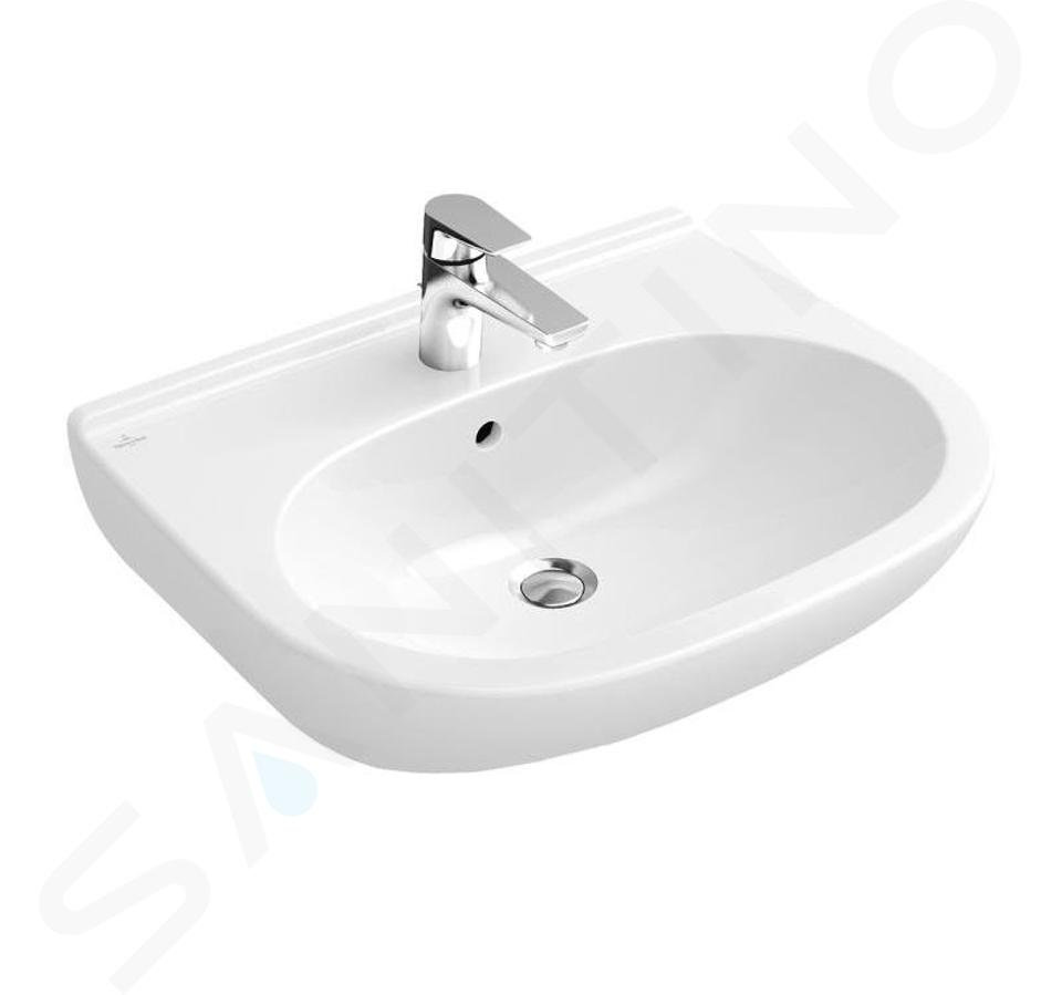 Villeroy & Boch O.novo - Waschbecken 650x510 mm, mit Überlauf, mit Hahnloch, Alpinweiß 51606501