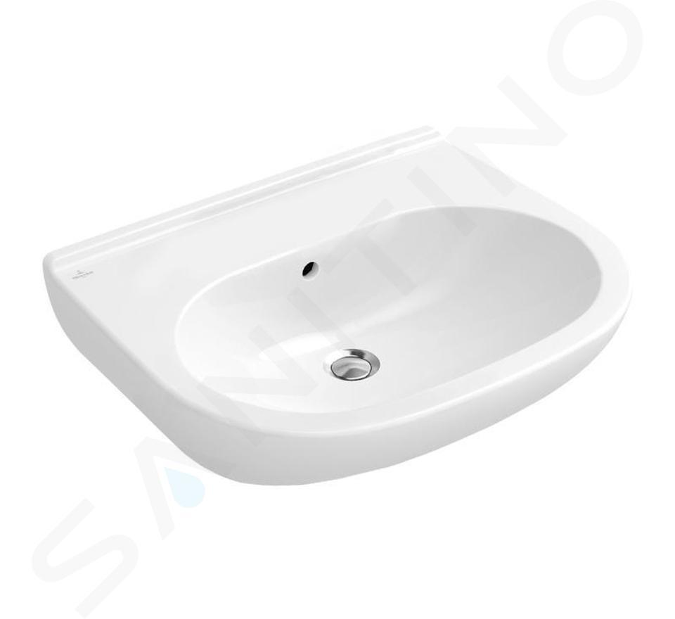 Villeroy & Boch O.novo - Wastafel 650x510 mm, met overloop, zonder kraangat, CeramicPlus, alpine wit 516067R1