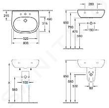 Villeroy & Boch O.novo - Waschbecken 600x490 mm, ohne Überlauf, ohne Hahnloch, CeramicPlus, Alpinweiß 516063R1