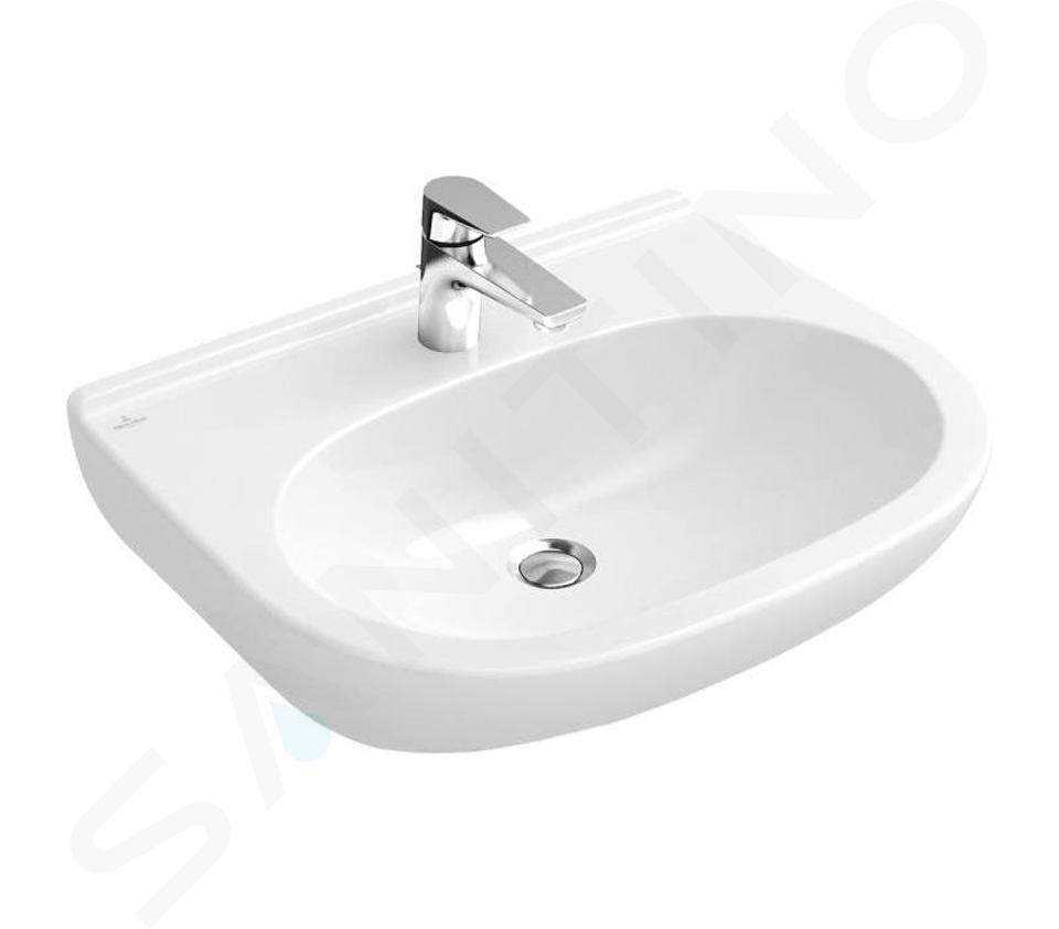 Villeroy & Boch O.novo - Waschbecken 550x450 mm, ohne Überlauf, mit Hahnlöchern, CeramicPlus, Alpinweiß 516056R1
