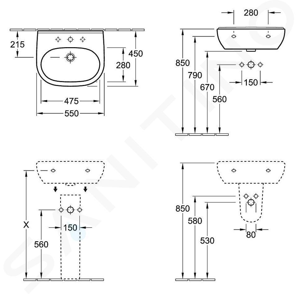 Villeroy & Boch O.novo - Wastafel 550x450 mm, met overloop, zonder kraangat, CeramicPlus, alpine wit 516057R1