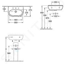 Villeroy & Boch O.novo - Waschbecken Compact, 550x370 mm, ohne Überlauf, mit Hahnloch, CeramicPlus, Alpinweiß 516656R1
