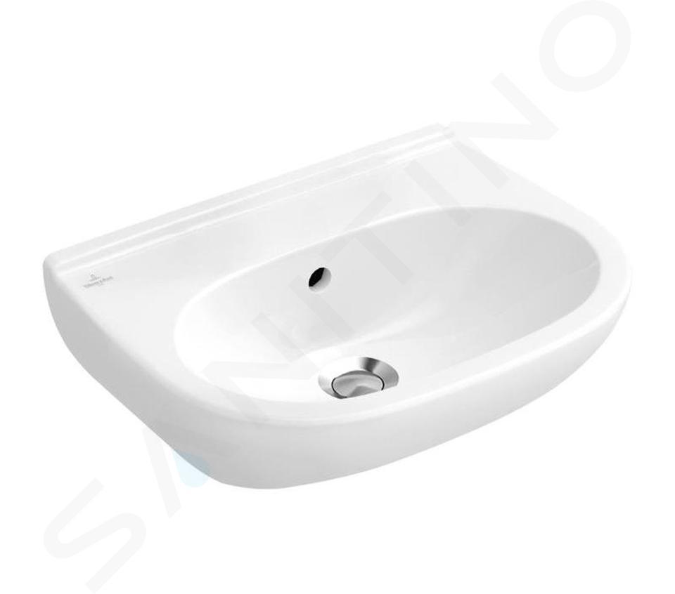 Villeroy & Boch O.novo - Waschbecken Compact, 550x370 mm, ohne Überlauf, ohne Hahnloch, Alpinweiß 51665701