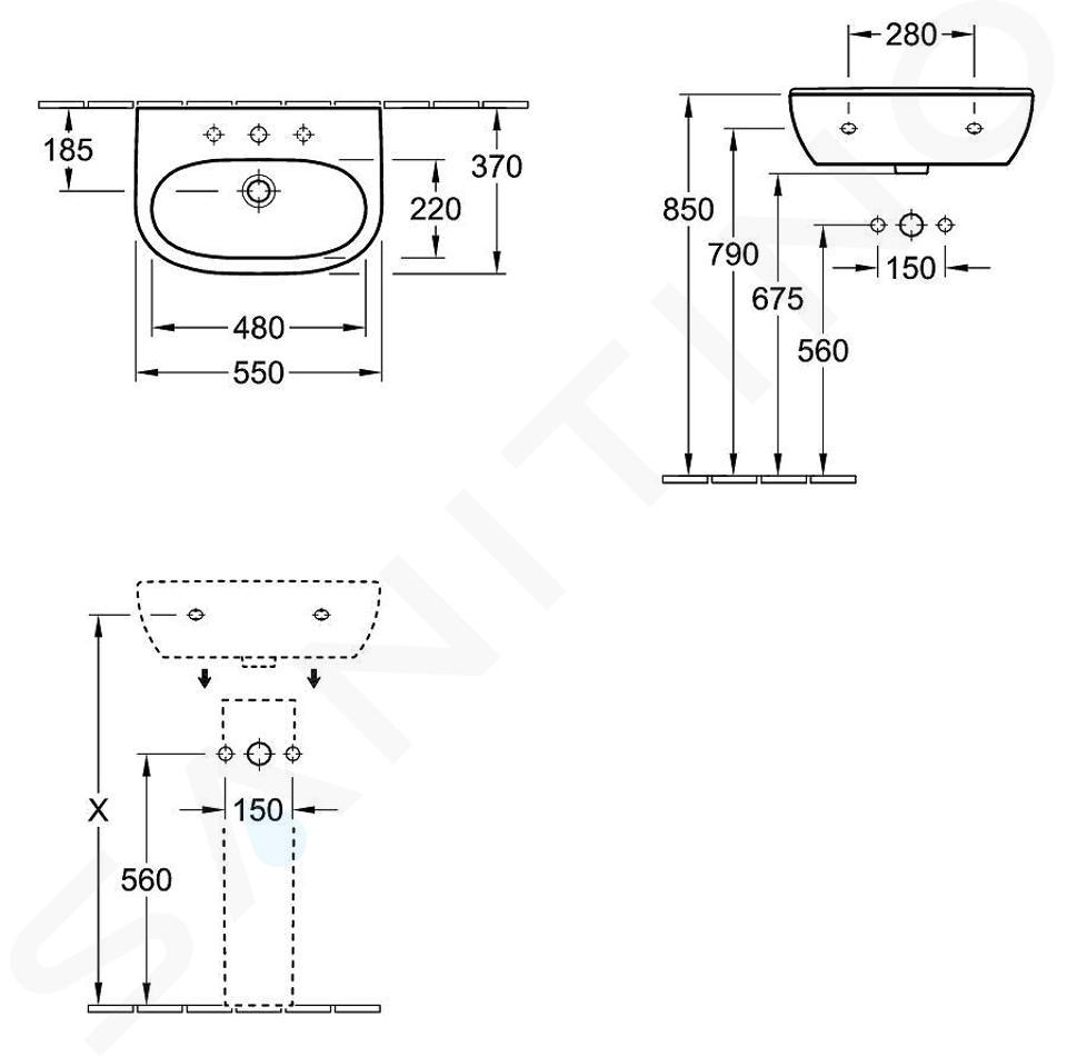 Villeroy & Boch O.novo - Wastafel Compact, 550x370 mm, zonder overloop, zonder kraangat, CeramicPlus, alpine wit 516658R1