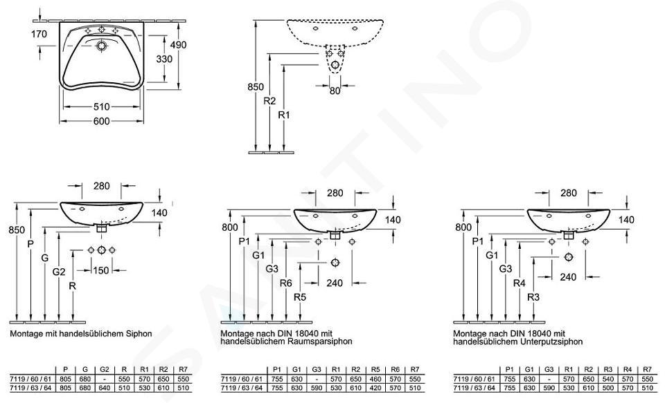 Villeroy & Boch ViCare - Waschbeckken Vita, 600 mm x 490 mm, Weiß - 1 Hahnloch, ohne Überlauf 71196101