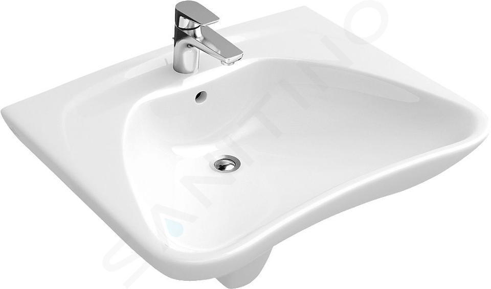 Villeroy & Boch O.novo - Waschbecken Vita, 600 mm x 490 mm, Weiß - Waschbecken, mit Überlauf 71196401