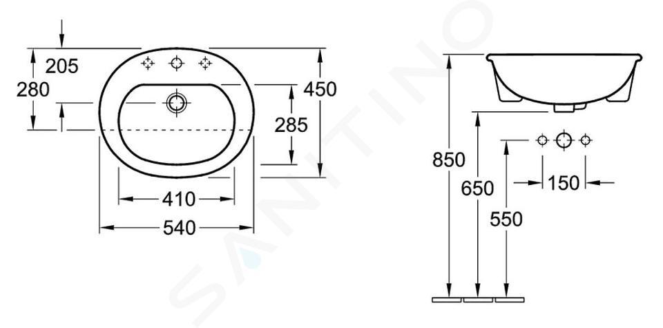 Villeroy & Boch O.novo - Vorbauwaschtisch 550x450 mm, mit Überlauf, 1 Hahnloch, CeramicPlus, Alpinweiß 416055R1