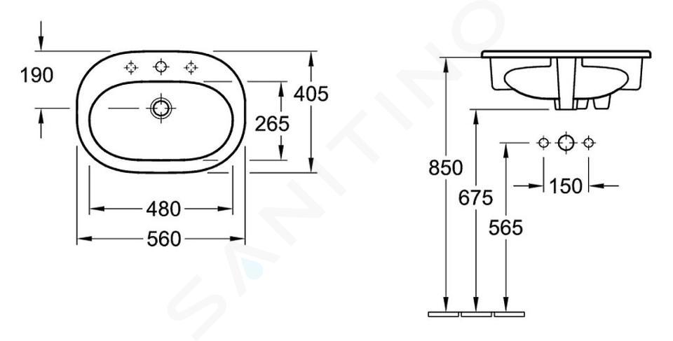 Villeroy & Boch O.novo - Inbouw wastafel 560x405 mm, met overloop, met kraangat, alpine wit 41615601