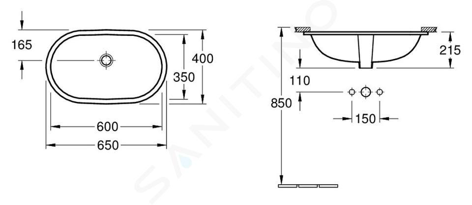 Villeroy & Boch O.novo - Onderbouw wastafel 600x350 mm, met overloop, Ceramicplus, wit 416260R1