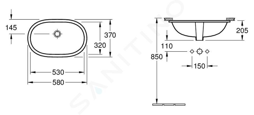 Villeroy & Boch O.novo - Inbouwwastafel 530x320 mm, met overloop, Ceramicplus, wit 416250R1