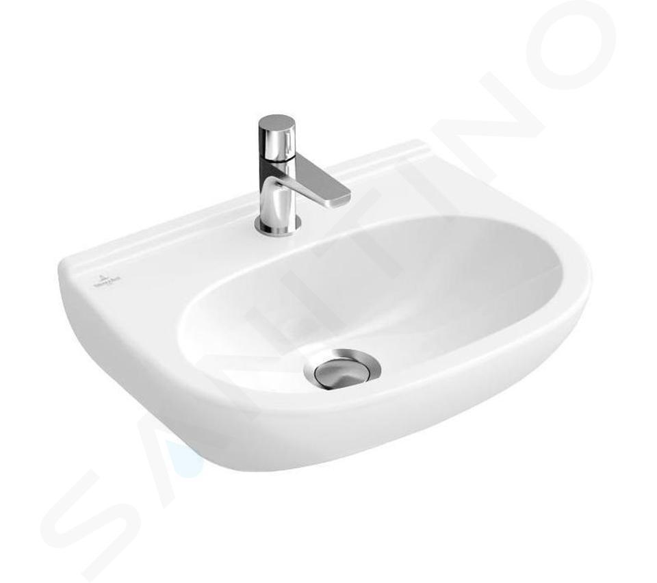 Villeroy & Boch O.novo - Compact fontein 500x400 mm, zonder overloop, met kraangat, CeramicPlus, alpine wit 536051R1