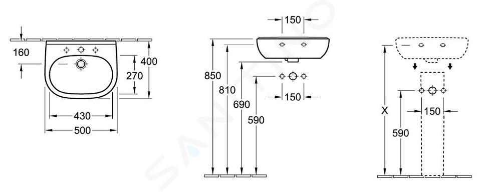 Villeroy & Boch O.novo - Compact fontein 500x400 mm, met overloop, zonder kraangat, CeramicPlus, alpine wit 536052R1