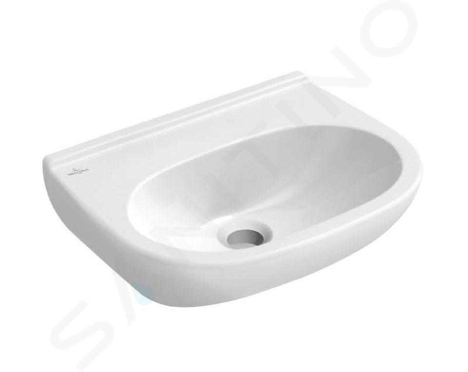 Villeroy & Boch O.novo - Handwaschbecken Compact 500x400 mm, ohne überlauf, ohne hahnloch, Alpinweiß 53605301