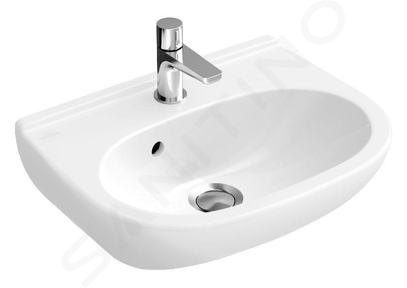 Villeroy & Boch O.novo - Handwaschbecken Compact 450x350 mm, mit Überlauf, mit Hahnloch, Alpinweiß 53604501