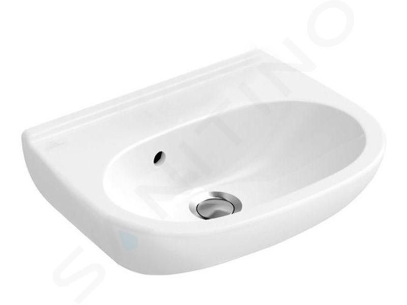 Villeroy & Boch O.novo - Handwaschbecken Compact 450x350 mm, mit Überlauf, ohne Hahnloch, Alpinweiß, mit CeramicPlus 536047R1