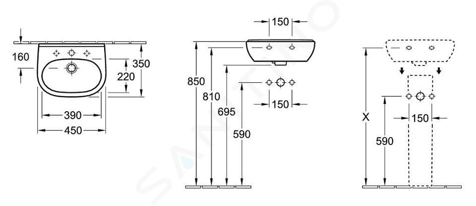 Villeroy & Boch O.novo - Compact fontein 450x350 mm, zonder overloop, zonder kraangat, CeramicPlus, alpine wit 536048R1