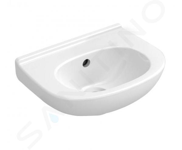 Villeroy & Boch O.novo - Handwaschbecken Compact 360x275 mm, mit Überlauf, mit Hahnloch, Alpinweiß, mit CeramicPlus 536036R1