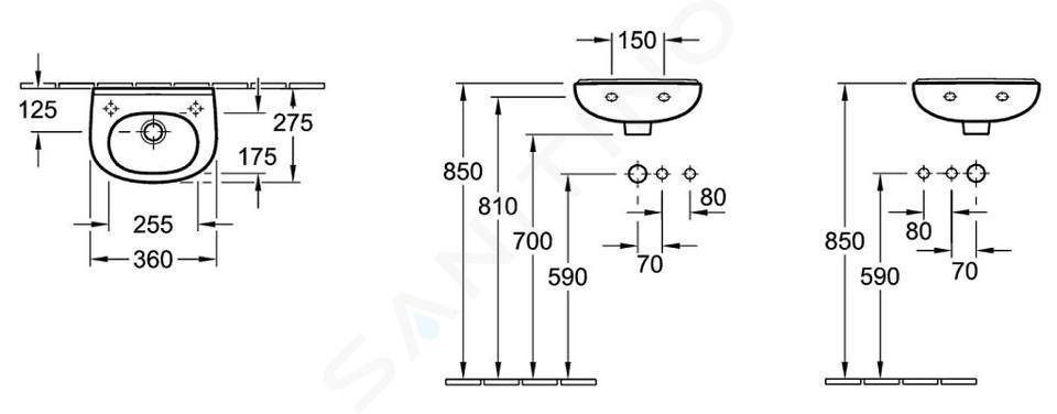 Villeroy & Boch O.novo - Compact fontein 360x275 mm, zonder overloop, zonder kraangat, alpine wit 53603701