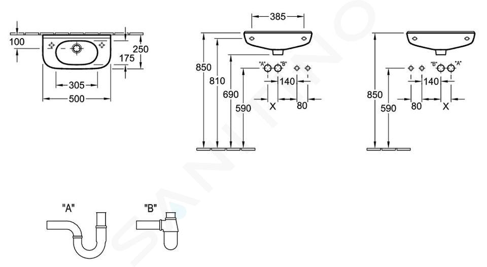 Villeroy & Boch O.novo - Compact fontein 500x250 mm, met overloop, 1 met kraangat, alpine wit 53615001