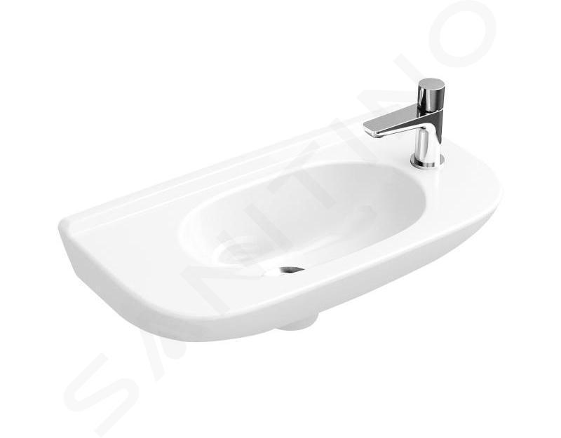 Villeroy & Boch O.novo - Compact fontein 500x250 mm, zonder overloop, 1 met kraangat, CeramicPlus, alpine wit 536151R1